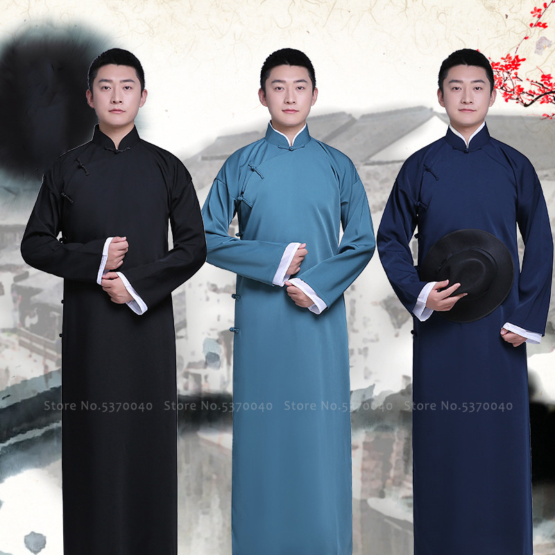 Men Crosstalk Traditional Chinese Tang Suit Dynasty Clothing Hanfu Long Dress Comic Actor Stage Robes Cheongsam Cosplay Costumes
