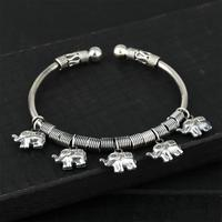 Bracelet For Woman 925 Sterling Silver Auspicious Elephant Pendant Round bracelet Charms Bangles Handwork Thai Silver Jewelry