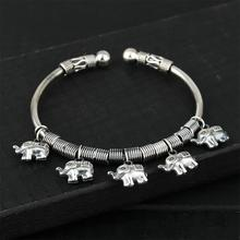 Fyla Mode 15g Vintage 100% Pure 925 Sterling Handwork Thai Silver Jewelry Auspicious Elephant Charms Bangles for Women Gift