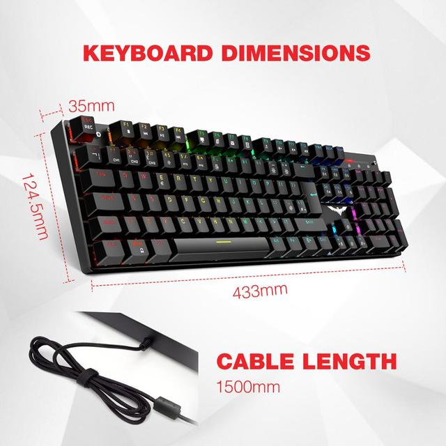 Gaming Mechanical Keyboard 87/104 keys Blue or Red Switch HAVIT Keyboards for Tablet Desktop Russian/US sticker