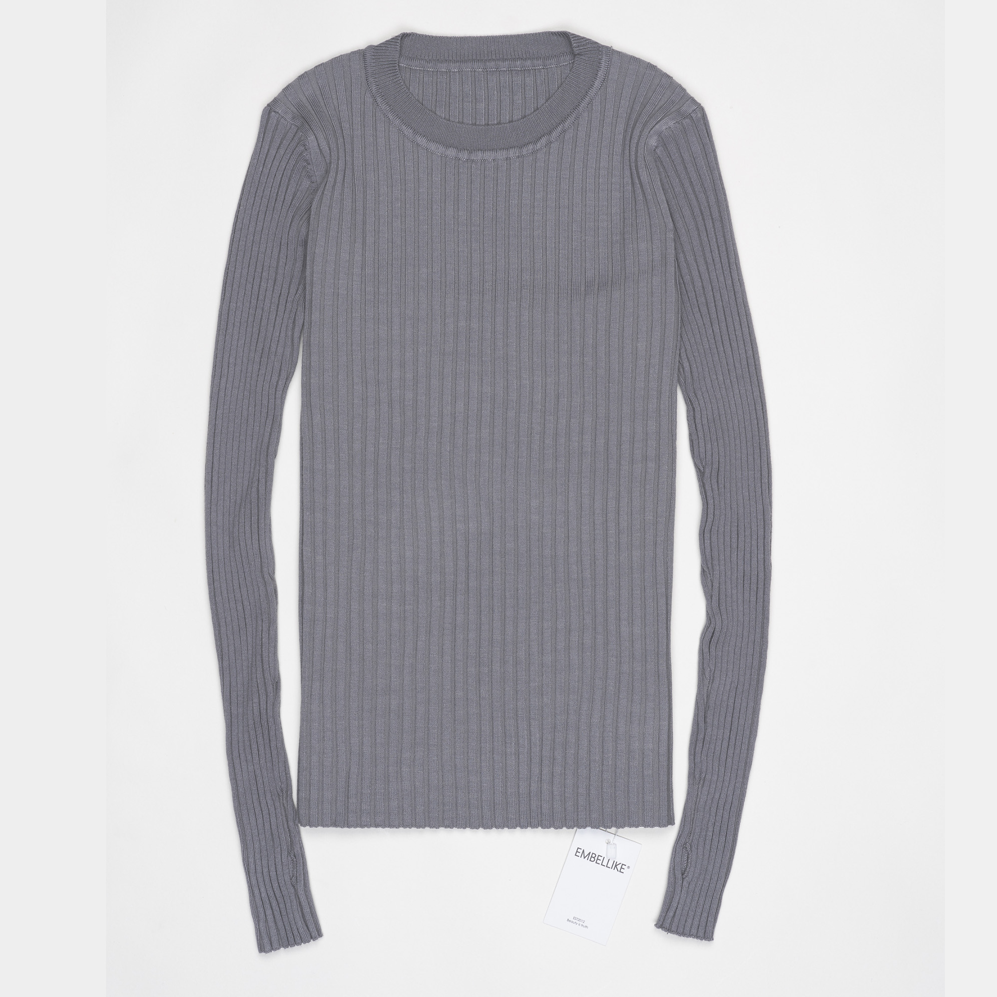 Women Sweater Pullover Basic Ribbed Sweaters Cotton Tops Knitted Solid Crew Neck With Thumb Hole 29