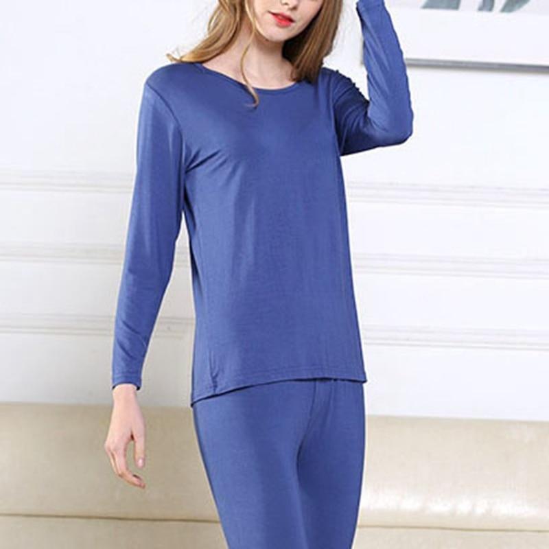 Mferlier Autumn Women Thermal Underwear Big Sizes 5XL 6XL 7XL Solid Blue Thin Elastic Female Underwear Tops +  Underwear Bottoms