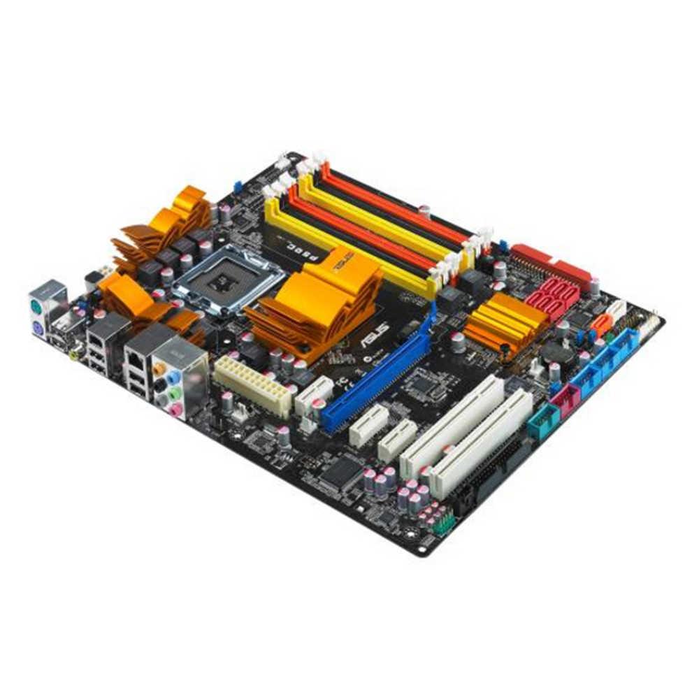 لوحة أم مستخدمة أصلية لسطح المكتب إنتل P45 آسوس P5QC المقبس LGA 775 كور 2 المتطرفة/كور 2 رباعية DDR2 ATX