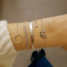 VAGZEB Boho 5Pcs/Set Gold Color Bracelet Set Punk Vintage Leaf Open Half Round for Woman Jewelry Gifts