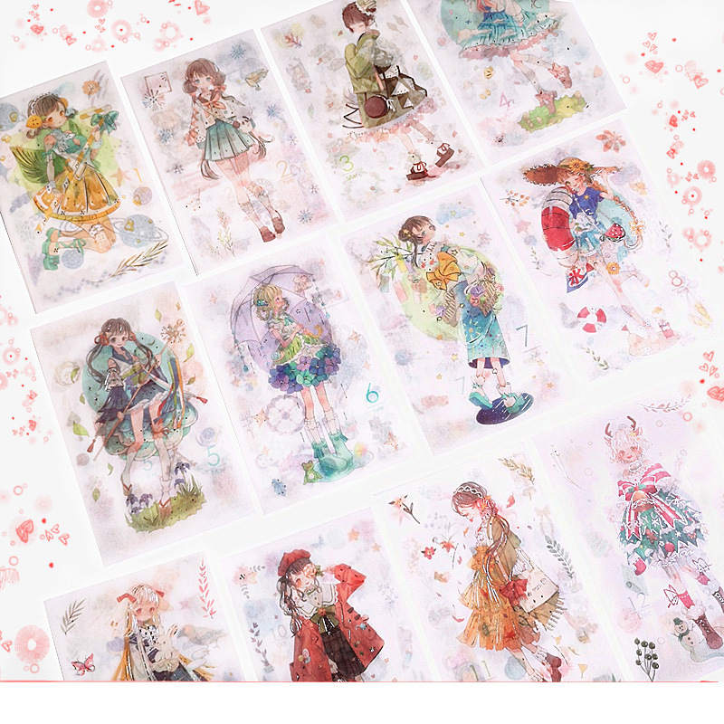 6PCS/Set Lovely Japanese Anime Girls Series Stickers Fresh Hand-painted Sticker Mobile Phone Diary Hand Account Book Stickers