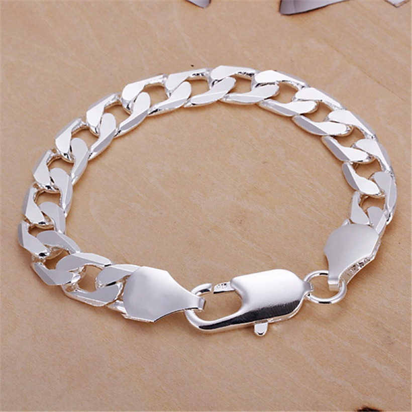 Classic , 6MM 8MM 10MM flat MEN bracelet silver color bracelets new high quality fashion jewelry Christmas gifts H262