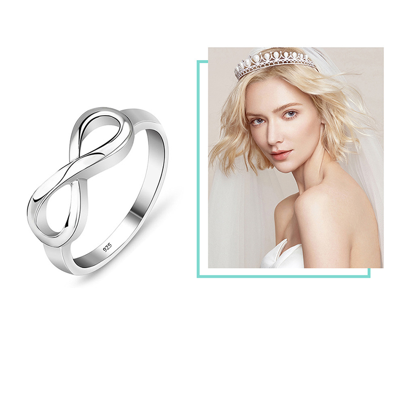 Купить с кэшбэком BRAVEKISS Multi-size Silver Plated Rings Romantic Infinity Love Ring 2019 Fashion Jewelry for Women Valentine's Day Gift PR0211