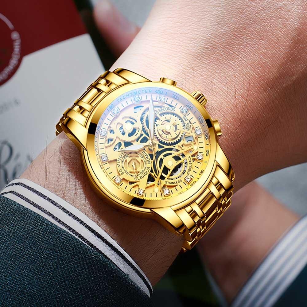 2021 NEKTOM Fashion Casual Men Watch Stainless Steel Golden Men Wristwatch Luxury Business Watch Relogio Masculio Gift for Men 4