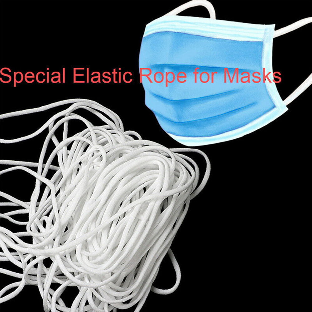 10m/20m/50m DIY Mouth Mask Elastic Band Mask Rope Rubber Band String Mask Ear Cord Round Elastic Band Clothing Craft Accessories