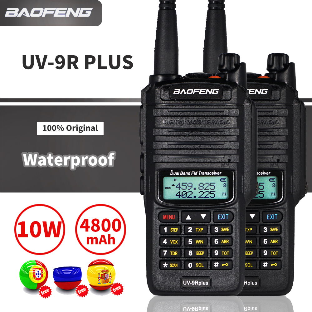 2PCS 10W Waterproof Baofeng UV-9R Plus Walkie Talkie 9rhp Dual Band Portable CB Ham Radio UV9R Plus FM Transceiver Transmitter