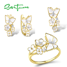 SANTUZZA  Jewelry Set for Women 925 Sterling Silver Flowers Butterfly Pendant Earrings Ring Set Fine Jewelry Handmade Enamel цена и фото