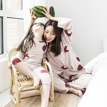 Soft knitted cotton all household wear pants long sleeve parent-child Pajama suit