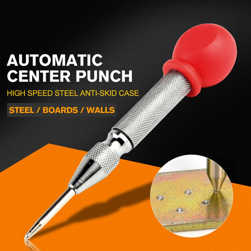 New 1Pcs HSS Center Punch Stator Punching Automatic Center Pin Punch Spring Loaded Marking Drilling Tool With A Protective Sleev
