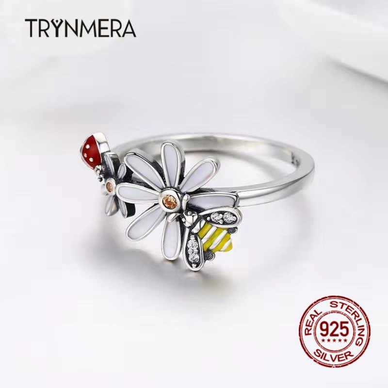 Trynmera Bạc 925 Hoa Và Bọ Rùa Thần Tiên Ngón Tay Cho Nữ, Nhẫn Nữ Mặt Dây Chuyền Trang Sức Bạc TR109