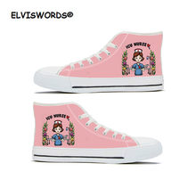 ELVISWORDS ICU Nurse Fashion Youth Girls High Top Canvas Shoes Woman Sneakers Pink Casual Vulcanize Ladies Lace-up Zapatos Mujer(China)