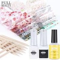 Uñas adhesivo transferencia pegamento conjunto de láminas de flor de la hoja de diseños de uñas de Gel polaco envolturas manicura decoración CH1538-1