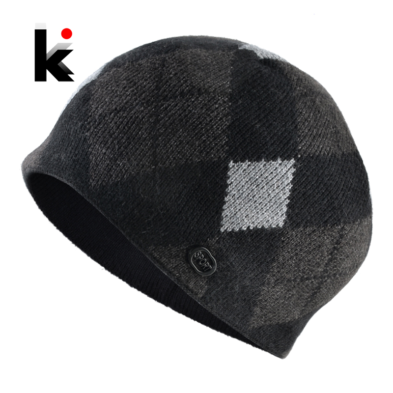 Winter Men's Beanie Fashion Ski Skullies Beanies Men Warm Knitted Plaid Hats Thick Double Layer Gorras Knit Contrast Color Hat