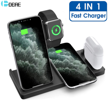 DCAE 15W Qi Wireless Charger 4 in 1 Fast Charging Station for Apple Watch 6 SE 5 4 3 2 iPhone 11 XS XR X 8 Airpods Pro Stand Pad