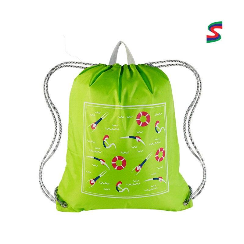 Sac de transport personnalisable Logo cordon sac à dos imprimé Logo coton Type Polyester coton pliant cordon shuang jian dai Mad