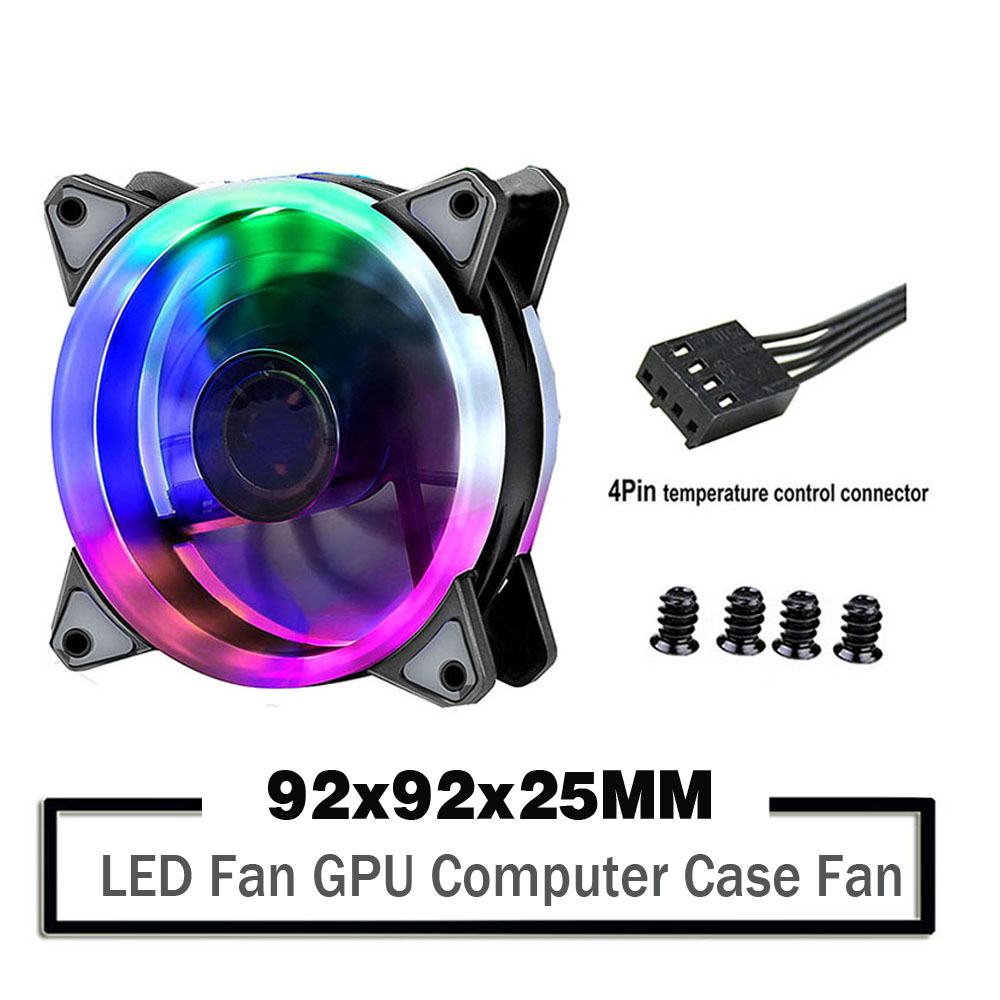 2PCS 90mm LED Light 4PIN 3PIN PC Desktop Computer Case Cooling Cooler Fan 12V 9225 92x92x25mm <font><b>GPU</b></font> CPU Cooler Double Halo Light image