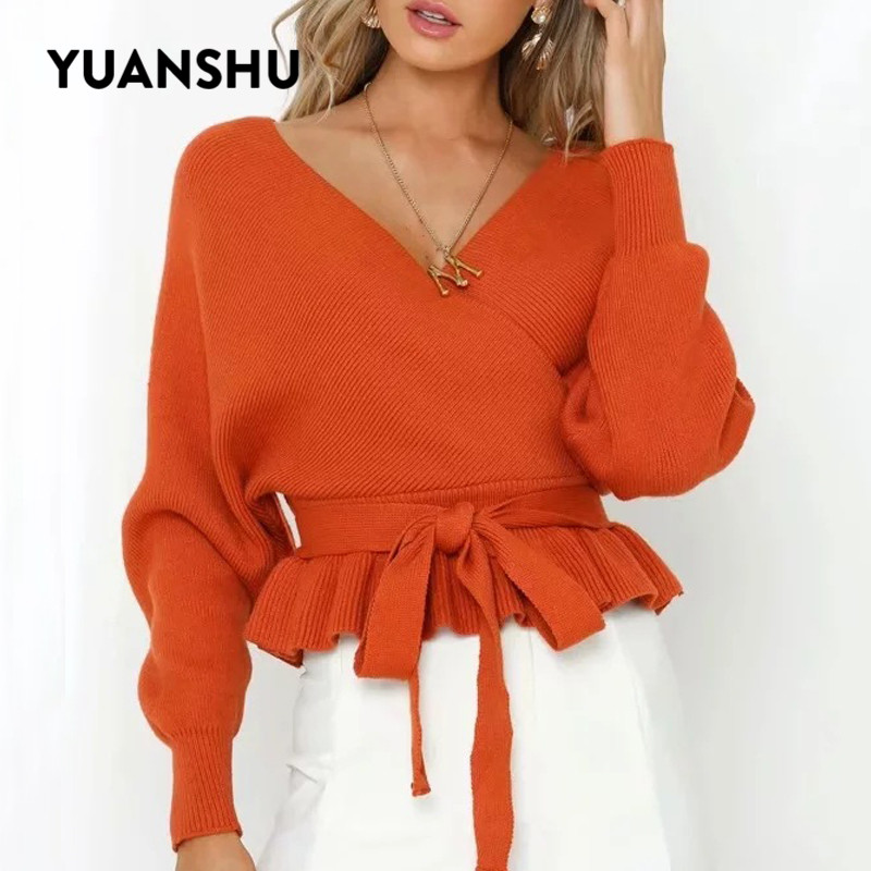 YUNANSHU 2019 Fashion Women Pullover V Neck Autumn Spring Knitted Sweater Casual Batwing Sleeve Bow Knotted Tops Fit For S-XL