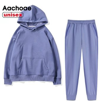 Aachoae 2021 Women Unisex Couple Fleece 100% Cotton Suits 2 Pieces Sets Casual Tracksuit Hoodies Sweatshirt Pants Plus Size 1