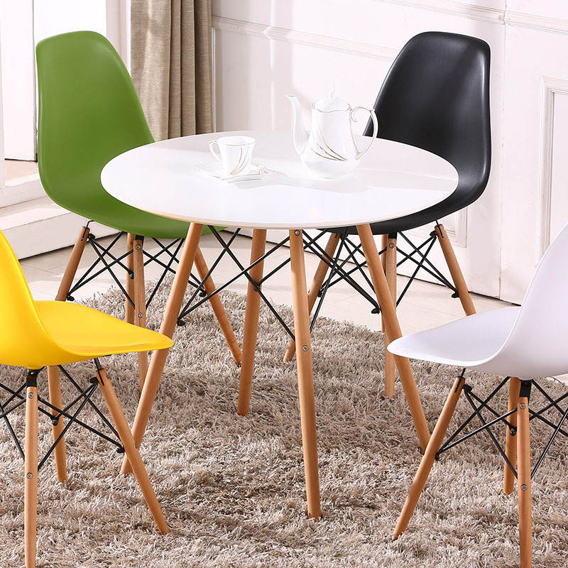 Cafe-Tables Coffee-Desk Round Wood Bedroom Restaurant Small White Black Fashion Solid