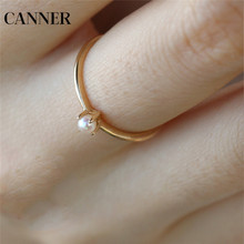 Rings for Girl Pearl Gold Color Ring For Women Wedding Engagement Rings Jewelry Simple Minimalist Bands bague A30 cheap canner Copper Cubic Zirconia Prong Setting Cute Romantic Cocktail Ring ROUND All Compatible OG0495 supply dropshipping wholesale price