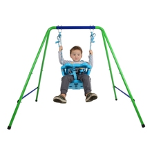 Folding Toddler Blue Secure Swing Set With Safety Seat For Baby/Chirldren's Gift Outdoor Toys