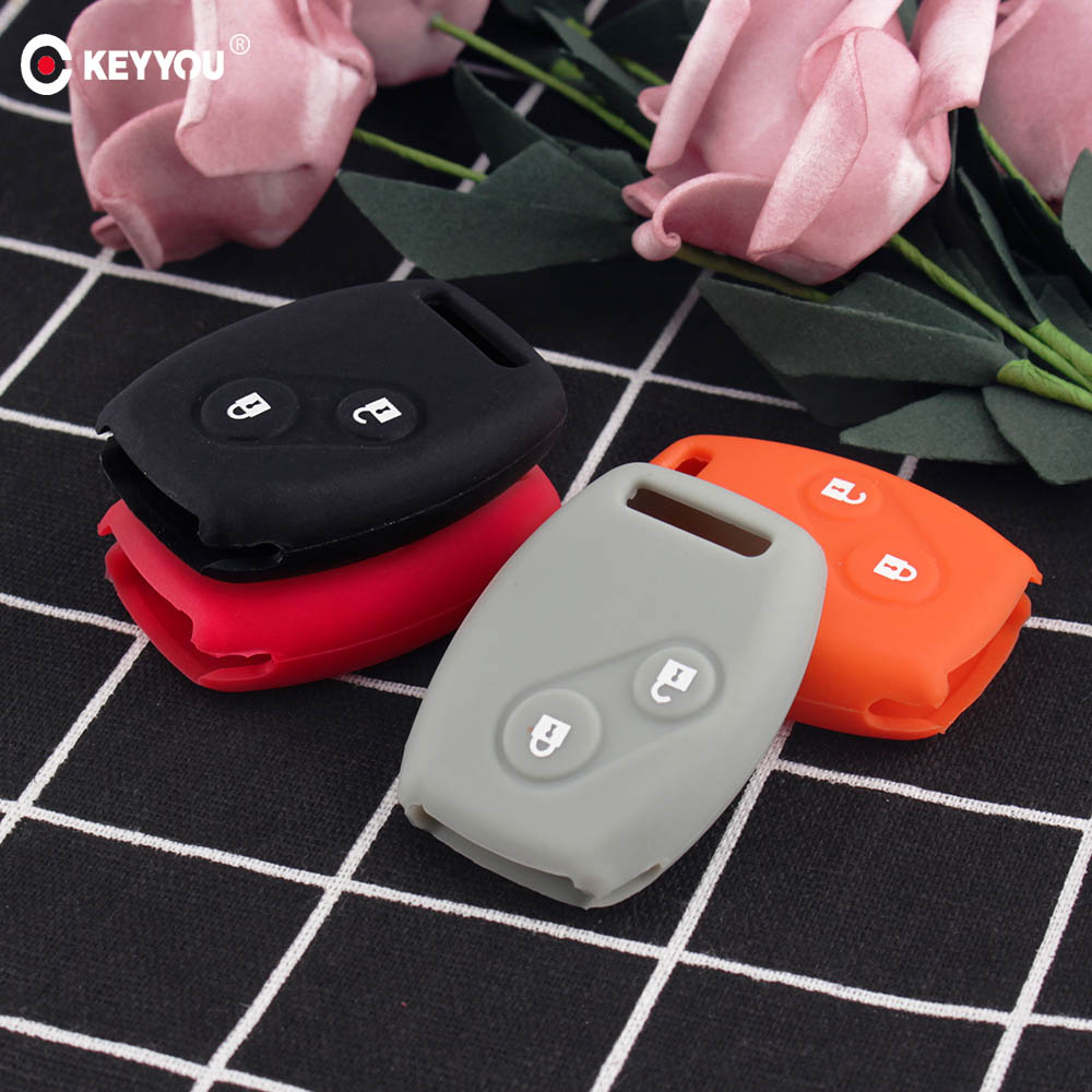 KEYYOU Sport Style Silicon 2 Buttons Key Case Covers Shell For Honda CR-V Civic Fit Freed StepWGN Key Free Shipping