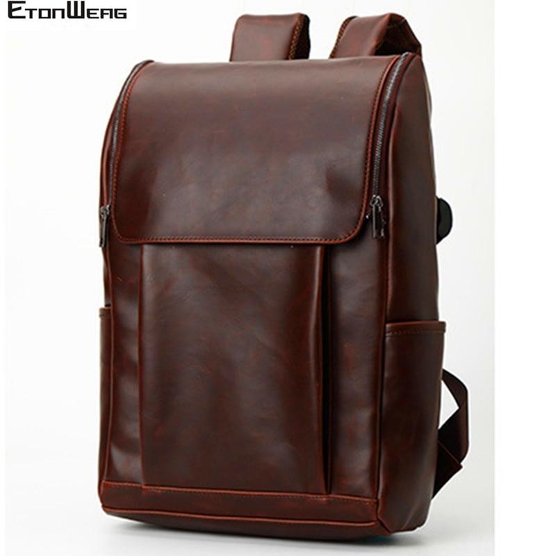Men's Business Office Backpack Crazy Horse Leather School Travel Bags Boy Computer Laptop Bag Pack Women Vintage Backbag Male
