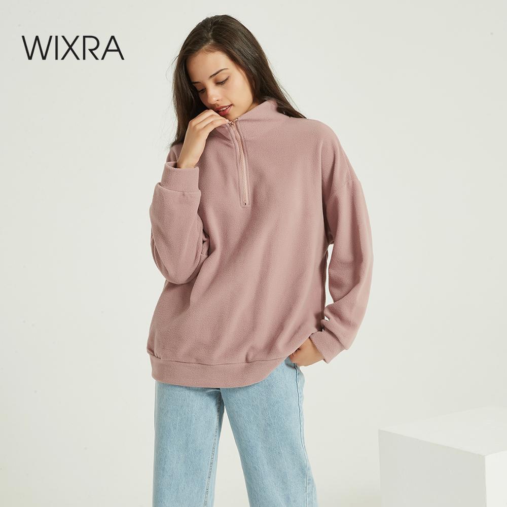 Wixra Women Casual Fleece Sweatshirts Solid Warm Zippers Long Sleeve Tops Winter Autumn Spring Basic Pullover Tops