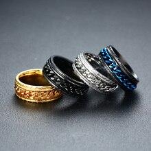ZORCVENS Stilvolle Herren Spinner Ringe 8MM Edelstahl Verflechten Ringe für Männer Center Kette Anel Allianz Schwarz/Blau farbe