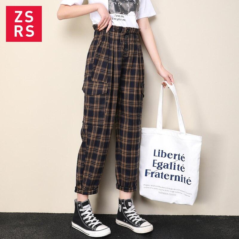 Zsrs Japanese Harajuku Casual Pants Women 2019 Fashion Lace Up High Waist Ankle Length Loose Plaid Harem Pants Wide Leg Pants