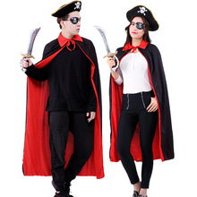 цена DM 2019 New Role-playing Suit Caribbean Captain Jack Adult Boys and Girls Cloak Cloak Show Costume Halloween  COS Pirate Clothes в интернет-магазинах