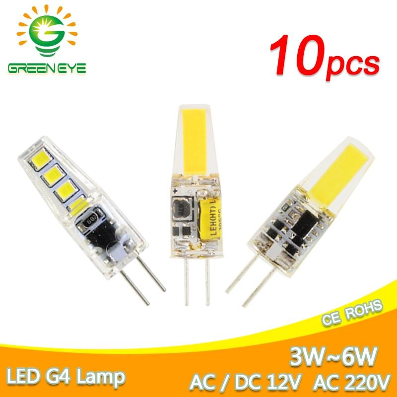 10pcs G4 COB LED Bulb ACDC 12V 6W AC220V 6W 10W LED G4 Lamp Crystal LED Light Bulb Lampada Lampara Bombilla Ampoule LED G4 3W 4W