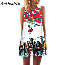 Arthsdite 2019 Floral Print Casual Summer Dress Loose O-Neck Boho Mini Work Office Party Plus Size Women Clothing