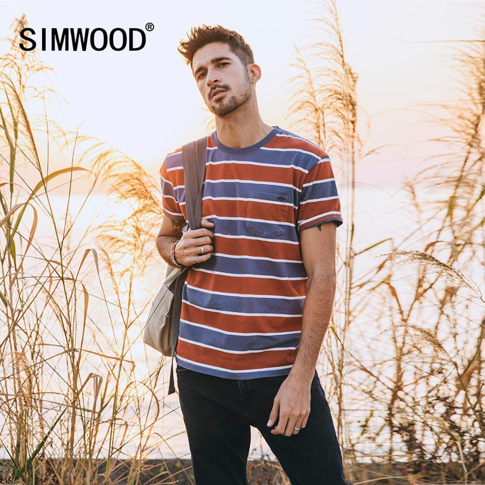 SIMWOOD 2020 Spring Summer New Striped T-shirt Men Vintage Red Blue Striped Pockets 100% Cotton Plus Size Tops SJ130289