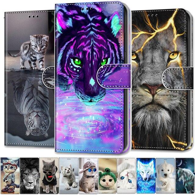 Cool สัตว์ Flip สำหรับใบมีด ZTE Blade 20สมาร์ท A5 A3 A7 V10 Vita 2020 A6 Lite L8 2019กระเป๋าสตางค์หมีสิงโตหมาป่าแมว