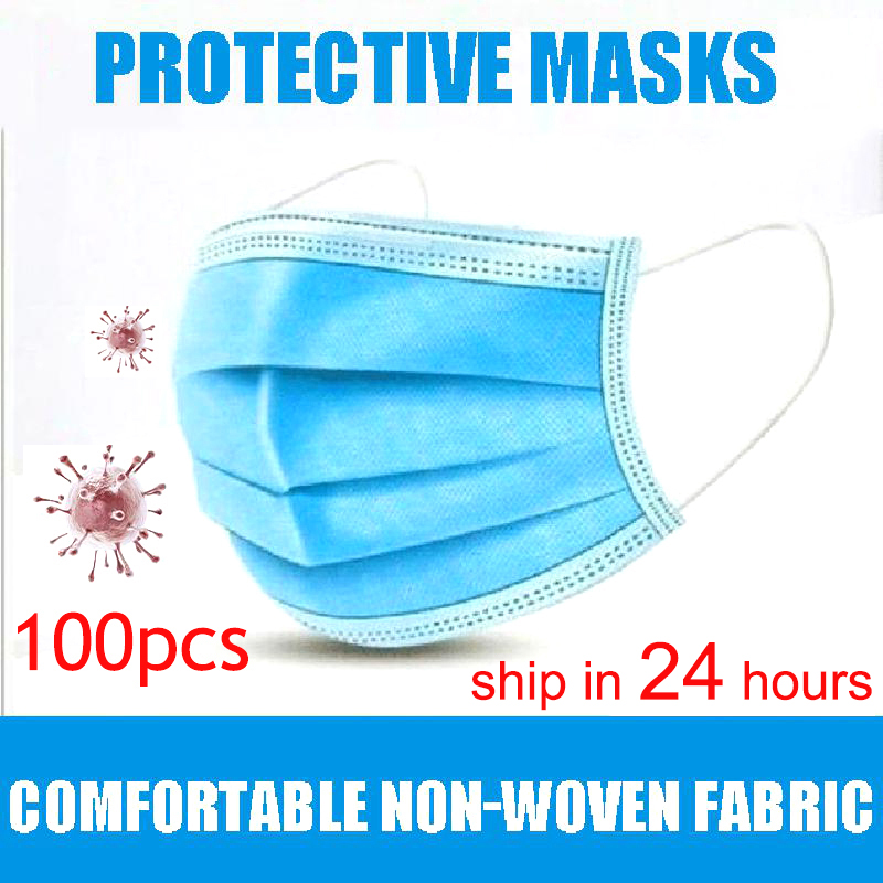 50Pcs/100pcs Mask Disposable Nonwove 3 Layer Ply Filter Mask Mouth Face Mask Filter Safe Breathable Dustproof Protective Masks