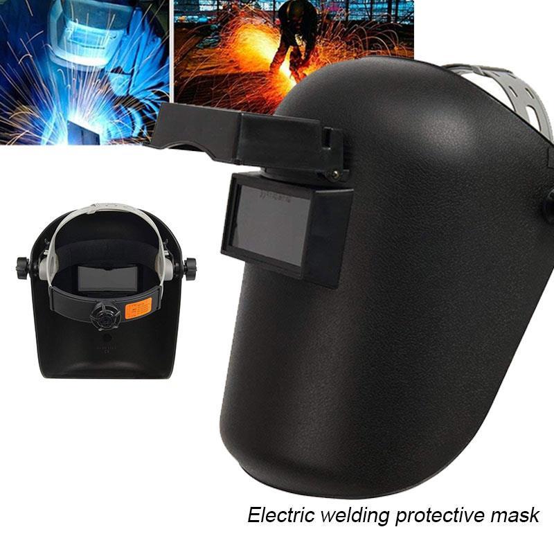 Black Welder Mask Anti-UV Sparkproof Protective Welding Helmet Solder Slag Mars Splash Adjustable Flip Up Lens Grinding