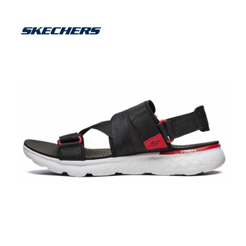 Сандалии Skechers, мужские летние удобные пляжные сандалии, легкие на плоской подошве, брендовые роскошные удобные сандалии высокого качества 54263 BKRD|Сандалии| | АлиЭкспресс