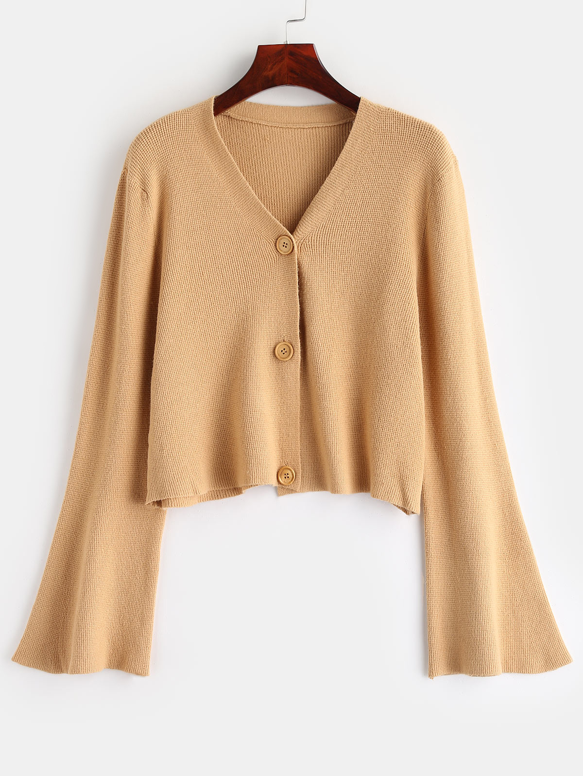 ZAFUL Button Up Flare Sleeves Cardigan Sweater Women V Neck Long Sleeve Knitted Cardigan Femme Casual Short Clothes 2019 Autumn