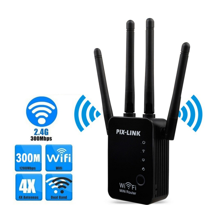 Wifi Wireless Repeater Router WLAN Signal Amplifier 2.4G ISP WiFi Range Extender PIX-Link 300Mbps WISP / Router / AP / New