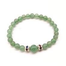 Эластичные зеленые браслеты с авантюрином и шариками бусинами