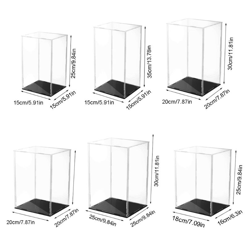 Clear Acrylic Display Case Black Base Dustproof Protection Model Toy Show Box