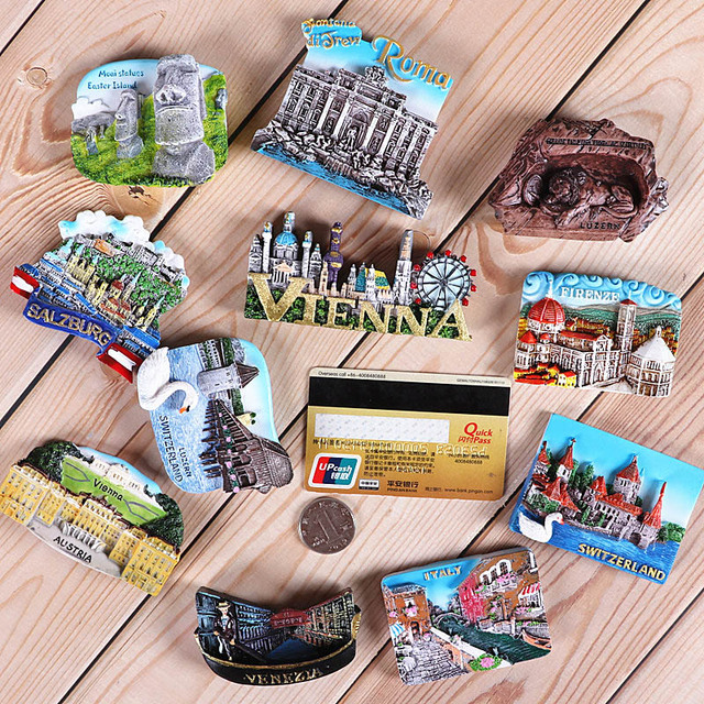 Magnetic refrigerator magnets Italy Switzerland Chile Austria European  countries Tourist attractions souvenir Home decoration 4