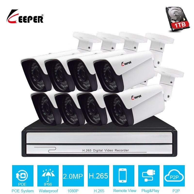 Keeper H.265 8CH 2MP HDMI 1080P POE NVR Kit Sistema de Segurança CCTV IR Ao Ar Livre com 8 PCS IP POE câmera P2P Conjunto De Vigilância Por Vídeo