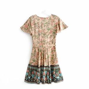 Image 2 - Vintage chic women floral print V neck rayon cotton Vacation Bohemian mini dress Ladies short sleeve  Boho dresses vestidos