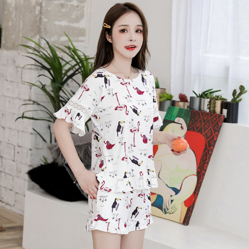 1202 # Korean-style Pajamas Women's Summer Short-sleeved Qmilch Women's-Outer Wear Tracksuit Two-Piece Set M -Xxl